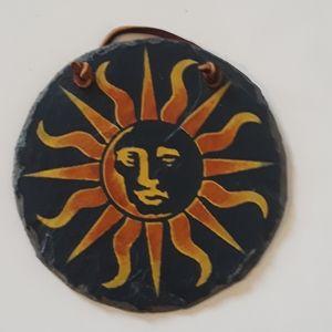 Sun Disk - Hand Painted Slate